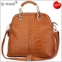 2012 new fashion style crocodile print genuine leather tote bag