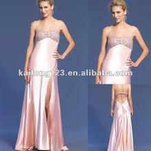 Spaghetti Strap Beaded Crystal Pink Prom Dress Online Fashion Shopping