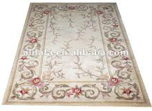 flower wool rug white