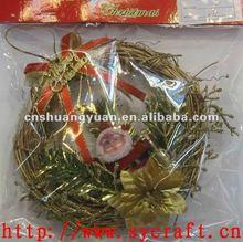 xmas hanging garland/wreath with santa&ribbon