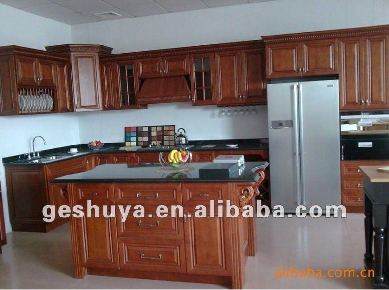 Lb jx1141 style am ricain classique en bois armoires de for Voir des modeles de cuisine