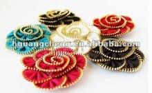 fashion Zipper handmade fabric brooch corsage garment trim shoe accessory flower