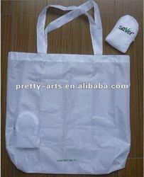 Nylon white foldable shopping bag