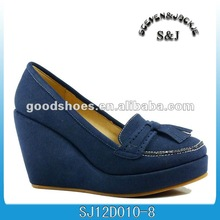 blue microfiber 2012 new wedges lady shoes
