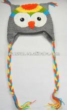 Newborn baby owl ear flap crochet beanie photography photo handmade hat