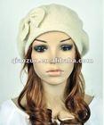 cute bow winter 100% wool fashion lady women's dress hat beanie ski beret hat
