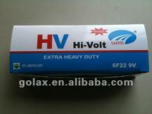 6f22 9V color box carbon zinc DRY battery cell