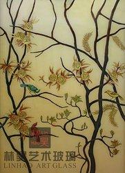 murano glass wall art, bird and tree pattern