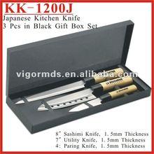 (KK-1200J) Japanese Style Kitchen Knives 3 Pcs Set with Black Gift Box