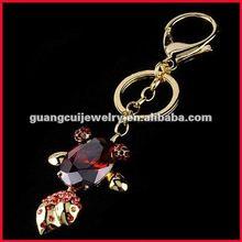 fashion rhinestone key chain keychain fish metal with gold Lobster Clasp