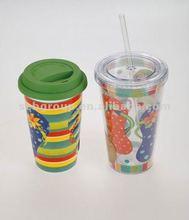 straw mug double wall 16 oz 2012 hot selling!
