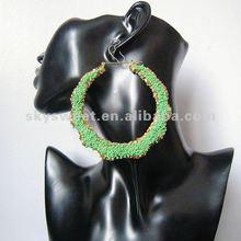 Beaded Bamboo Earrings,Rhinestone Bamboo Earrings ,2012 New Earrings(SWTERBC104G)
