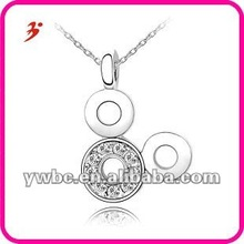 Girls white clear mickey christmas crystal pendants necklace jewelry (A101817)