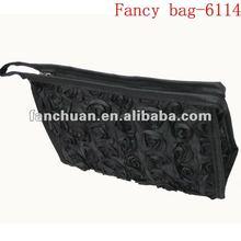 Fashion black rose comestic bag