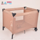 large play pen for baby boys, coffee color foldable travel cot, basic style cheap play yard