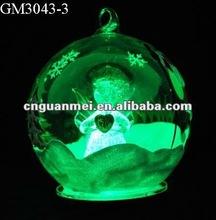christmas led glass ball with angel holding a heart inside