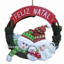 Santa And Snowman Fabric Christmas Wreath Decoration