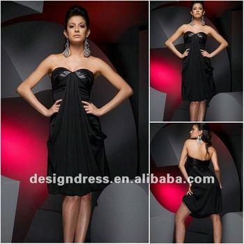 Sexy black strapless sweetheart neckline chiffon cocktail dress evening dress fashion 2012 JW13