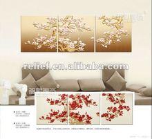 modern new design 3d floral wall art painting 2012