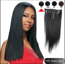8PCS Remy Clip in Human Hair Extensions 100g 120g #01 Jet Black