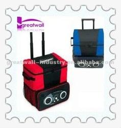 Trolley wine cooler bag with speaker