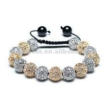 2012 Bling Jewelry Macrame Bead Bracelet Unisex Golden Crystal CZ Black Onyx Balls 12mm