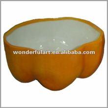 bell pepper shape yellow ceramic fruit bowl