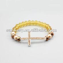 2012 Fashion New pearl&crystal Cross Shamballa Bracelet