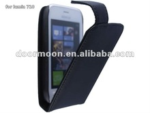 black leather flip case cover pouch for nokia lumia 710