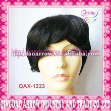 Black cool short fake hair wig