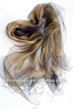 2012 latest two layer pure silk fashion shawl