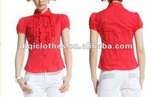 ladies blouse,100% cotton red color