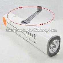 LED New Design Light with FM Radio+SOS alarm+ Solar Panel + Phone Charger + Flashlight