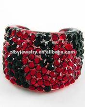 Red Zebra Print Lucite / Black & Siam Acrylic Studs / Cuff Ring / Handmade