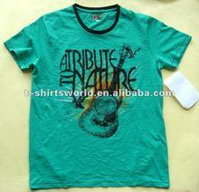 2014 Fashion contrast color neck Logo bright color T shirt
