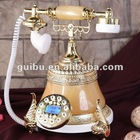 Yellow Jade Craft Gift Telephone for Home Decor Furniture