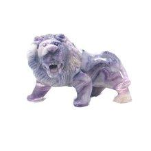 Chinese Lion Sculpture Natural Gemstone Carving Gemstone Fluorite