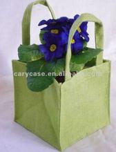 compact green handle natural jute grocery shopping handbag