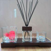 Quarto fragrância cana difusor CX-DB025 com praça de vela de vidro