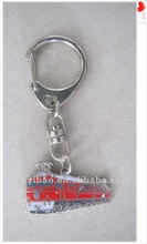 2012 train chain metal keychain with soft enamel and plated shiny nickel