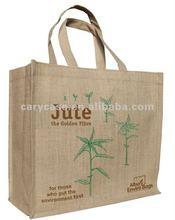 bamboo printed large size handle natural jute shopping handbag