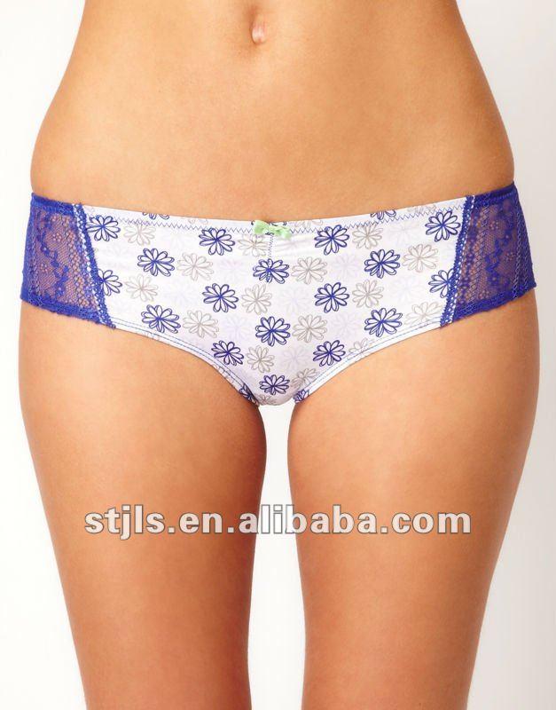 floral printed nylon/polyamide spandex/elastane mature ladies' brief/bikini ...