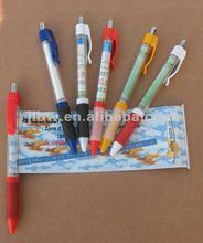 advertising banner ballpen/cheap plastic banner ball pen/ retractable banner pens