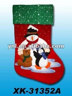 CHRISTMAS DECORATION HANGING FELT SANTA STOCKING WITH EMBROIDERY