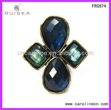 Cheap And High Quality Elastic Four Pieces Of Resin Antique Gold Ring