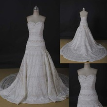 AM397 Taffeta Beaed Lace Made in China Bridal Wedding Dress