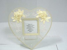 Heart shaped acrylic photo frame with writing