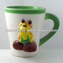 Giraffe V-shaped ceramic mugs, ceramic embossed mugs, handpainted ceramic animal mug
