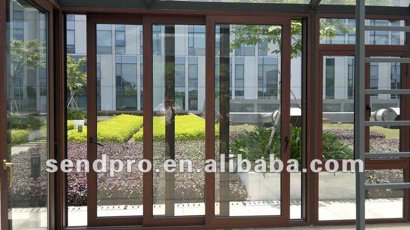 Puertas De Aluminio Para Baño Color Madera:Madera color de perfil de aluminio puerta corredera con tres paneles