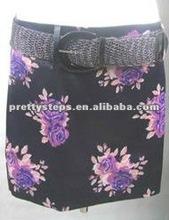 PrettySteps 2012 New fashion flower black skirt with belt sexy high quality black bandage skirt women lady pencil skirt dress